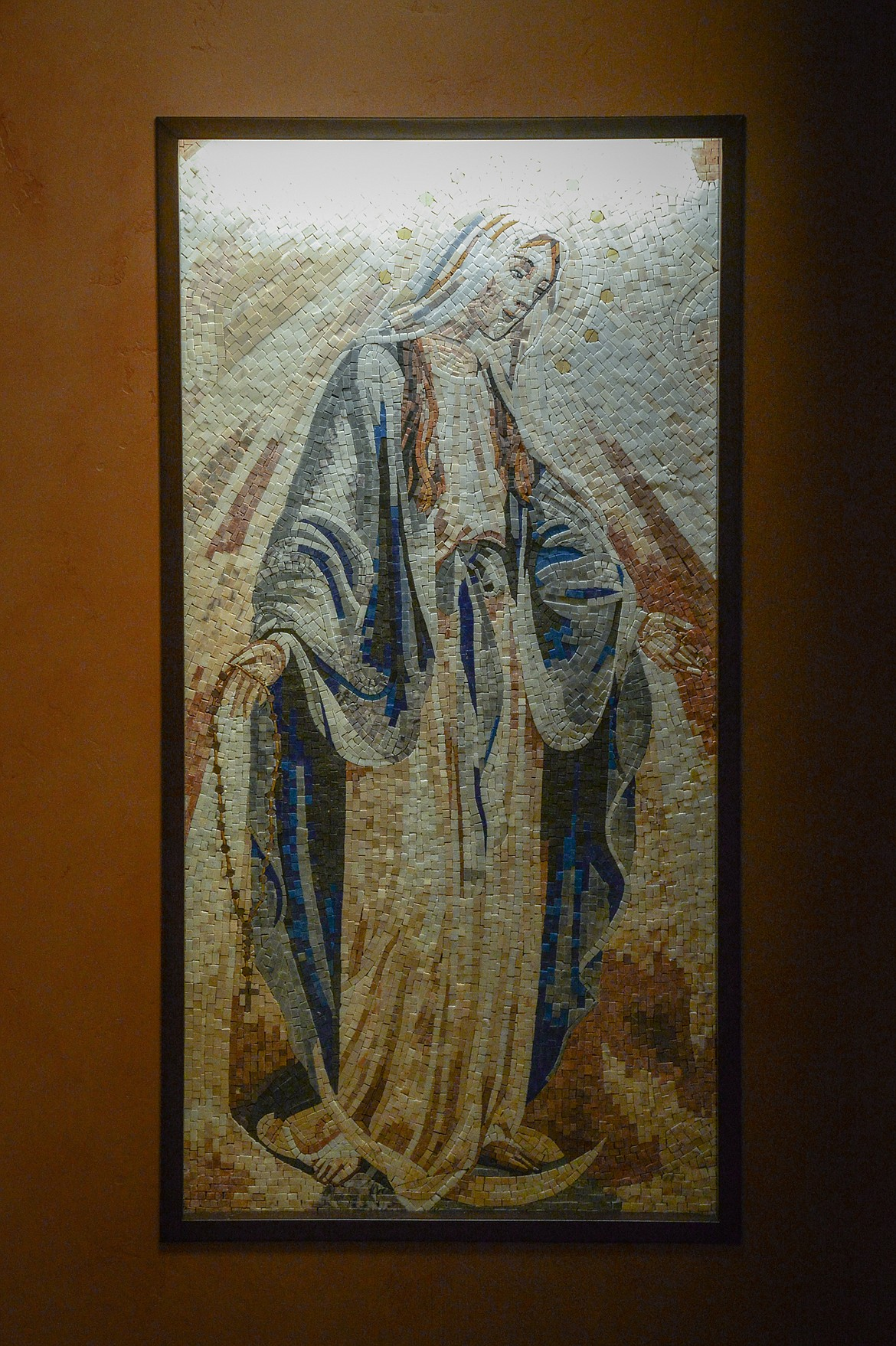 An image of Mary is depicted in a new mosaic at St. Matthew's Catholic Church. The mosaic is from Lebanon. (Casey Kreider/Daily Inter Lake)