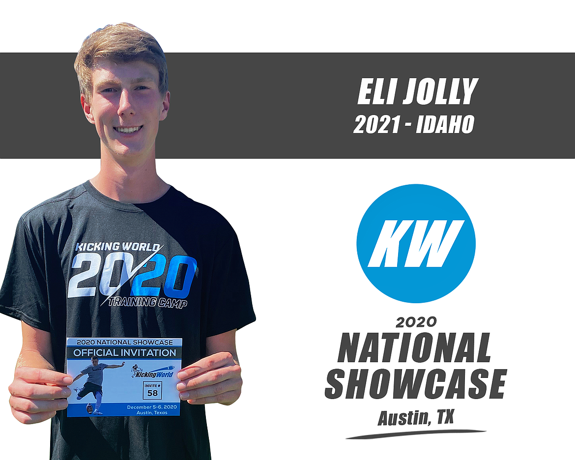Courtesy Kicking World Coeur d'Alene High School kicker/punter Eli Jolly has been invited to the  2020 Kicking World National Showcase taking place on Dec. 5-6 in Austin, Texas. He earned the invitation earlier this season by having a 'wow' performance at a Kicking World camp, competing against over 1,200 high school kickers during a camp tour which went to over 22 major cities and 30 states. Kicking World invited 110 of these 1,200-plus students and Jolly will join 90 other participants who accepted their invites. The event will be streamed live from Austin, Texas on Sunday, Dec 6 from 8:30 a.m. to 2 p.m. PST via YouTube at kickingworld.com/live