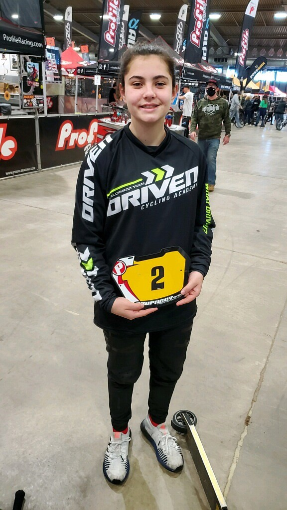 12-year-old Rathdrum BMX biker Alyssa Foreman shows off her new uniform at the USA BMX Grand Nationals Race of Champions last week. Photo courtesy Paul Foreman.