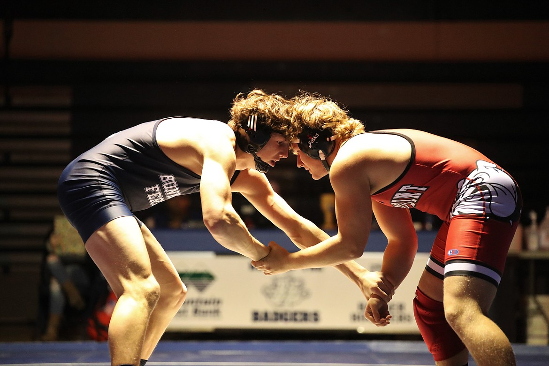 Eli Richards (left) faces off Sandpoint's Blake Sherrill at 182 pounds last Thursday at BFHS.
