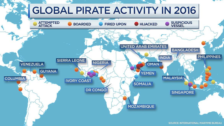 Worldwide piracy locations today.