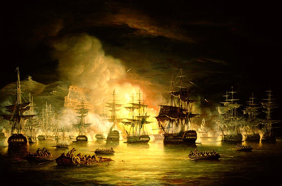 Thomas Luny (1769-1837) painting of Bombardment of Algiers in August 1816 depicting major attack on Barbary pirate stronghold by joint Spanish-Neapolitan-Maltese-Portuguese fleet commanded by the experienced Spanish Admiral Antonio Barceló, causing high casualties that brought fear of another attack, eventually forcing a peace treaty.