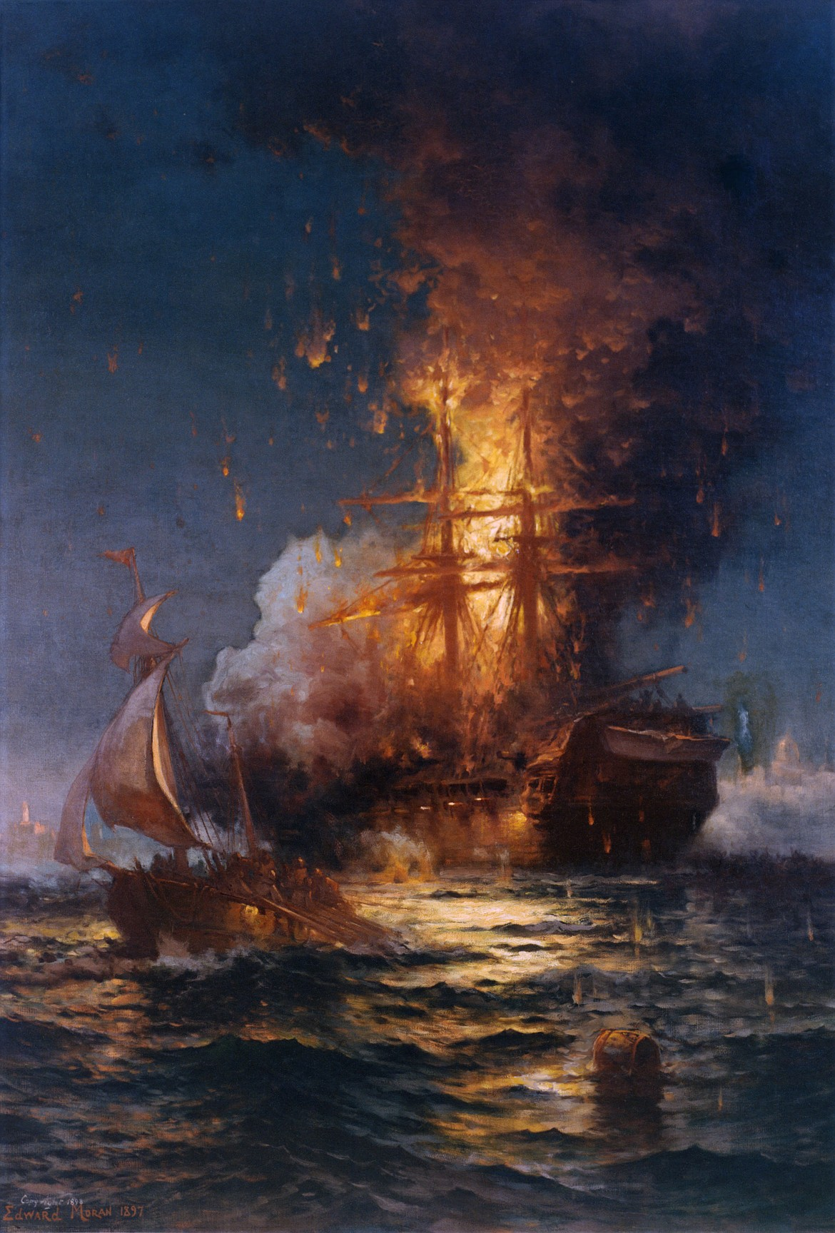 Painting by English-born American artist Edward Moran (1829-1901) of deliberate burning of frigate USS Philadelphia captured by Tripolitans after running aground in Tripoli harbor during Barbary Wars, the destruction made by Stephen Decatur and 60 men who escaped in ketch Intrepid shown in foreground.