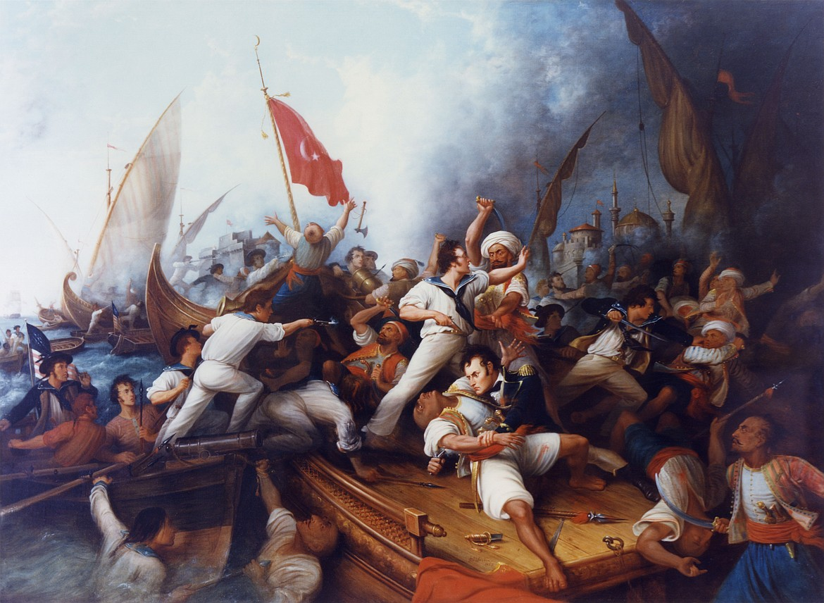 Painting by Dennis Malone Carter (1820-1881) of Stephen Decatur boarding a Tripolitan gunboat during a Barbary War naval engagement, Aug. 3, 1804, with Decatur in blue uniform in lower right center.