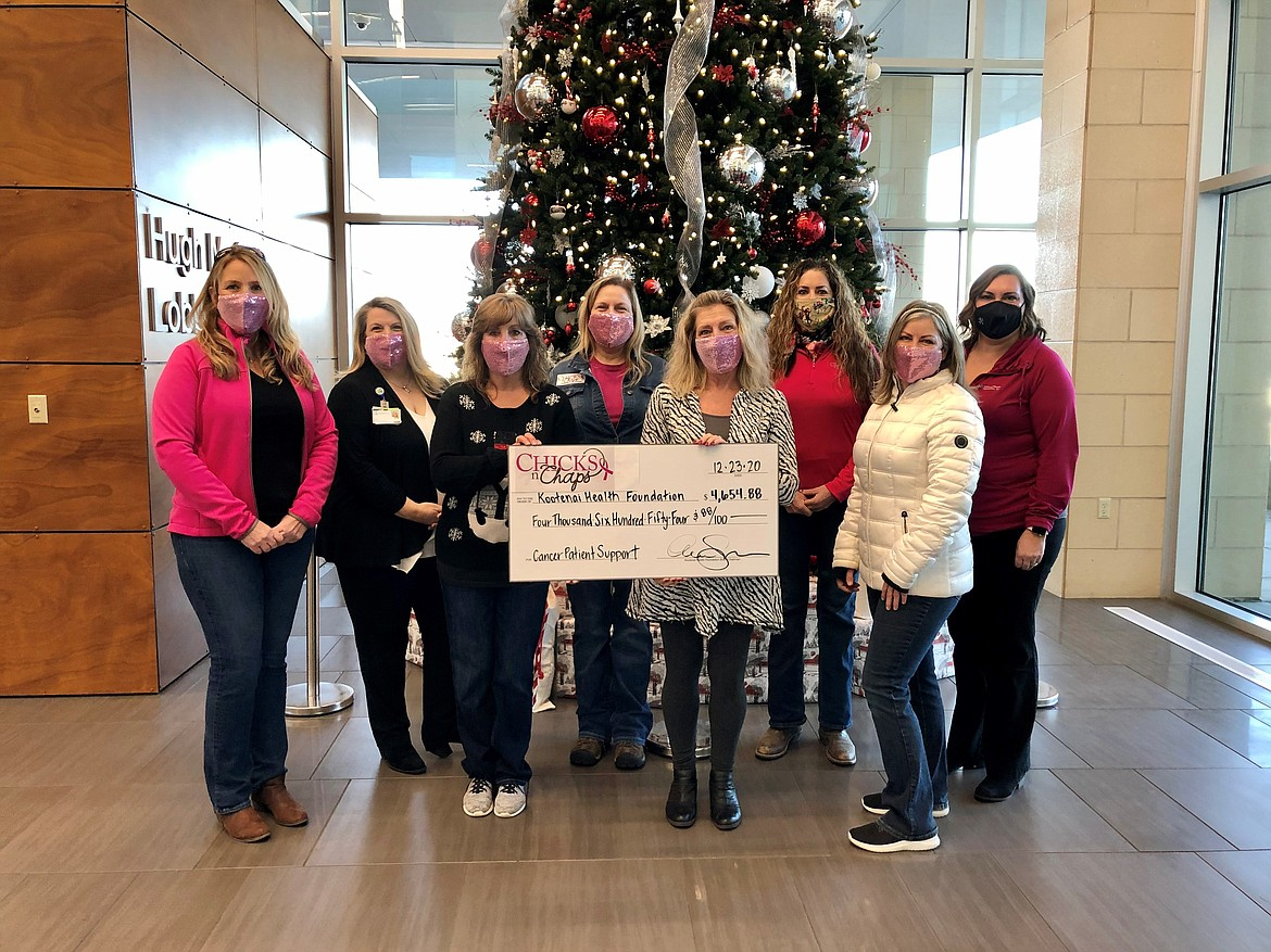 Chicks n' Chaps donated $4,654.88 to Kootenai Health Foundation's Cancer Patient Support Program. Proceeds were raised by our local Chicks n Chaps chapter and local businesses, with special thanks going to Idaho Forest Group, Mountain Power, Valley Glass, Gem State Mule, Benefits Exchange, Custom Drywall, Custom Insulation and the Kaarlgard Chicks. Pictured from left: Ann Siebert, Chicks 'n Chaps chair; Tolli Willhite, Kootenai Health; Kandie Sears, Karen Lynch and Melanie Goularte, Chicks 'n Chaps committee members; Diana Lillefloren, Kootenai County Fair Foundation; Crissy Schinmann, Chicks 'n Chaps committee and Kali Singleton, Kootenai Health Foundation.
