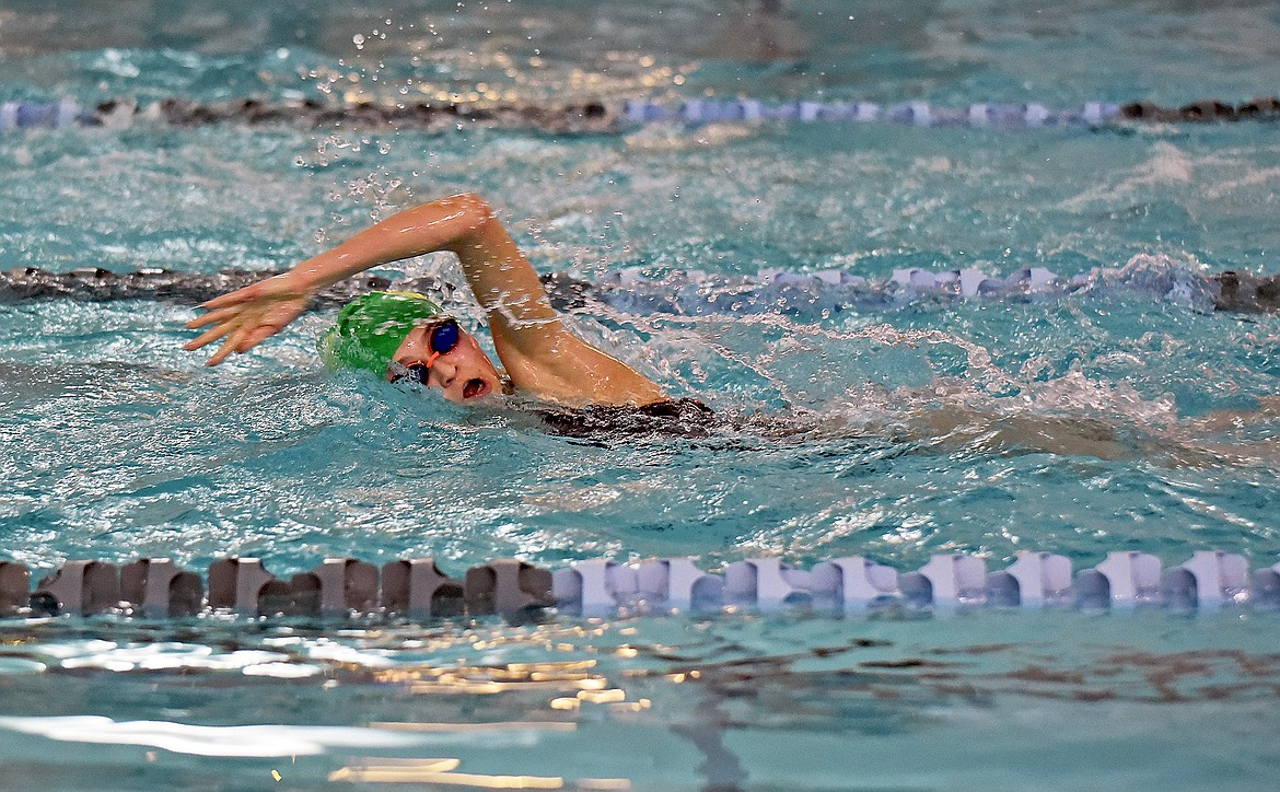 Bulldog sophomore Linnea McCrady swims during practice on Dec. 10. (Whitney England/Whitefish Pilot)