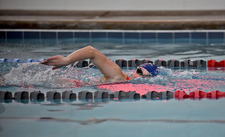 Whitefish senior Helena Kunz swims during practice on Dec. 10. (Whitney England/Whitefish Pilot)