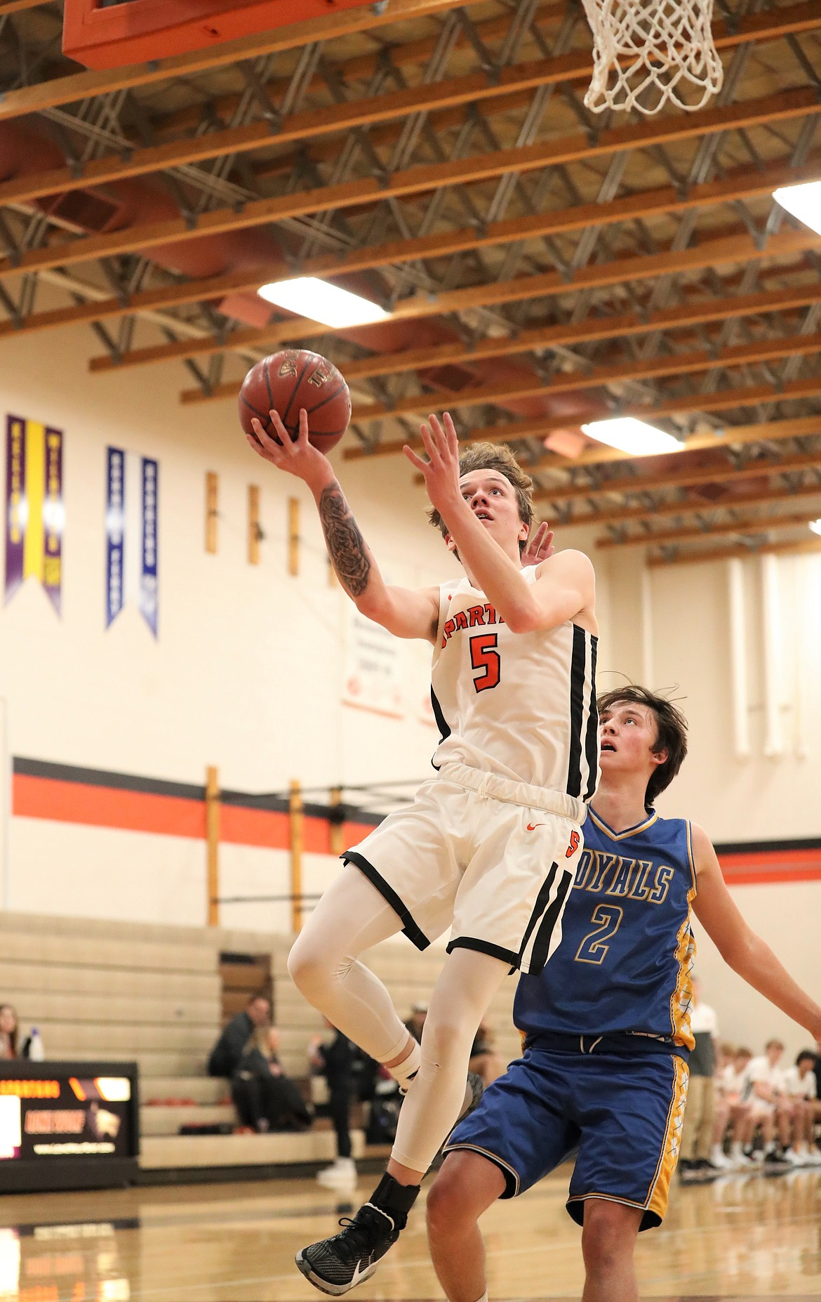 Trentyn Kreager takes off to convert a layup on Monday.