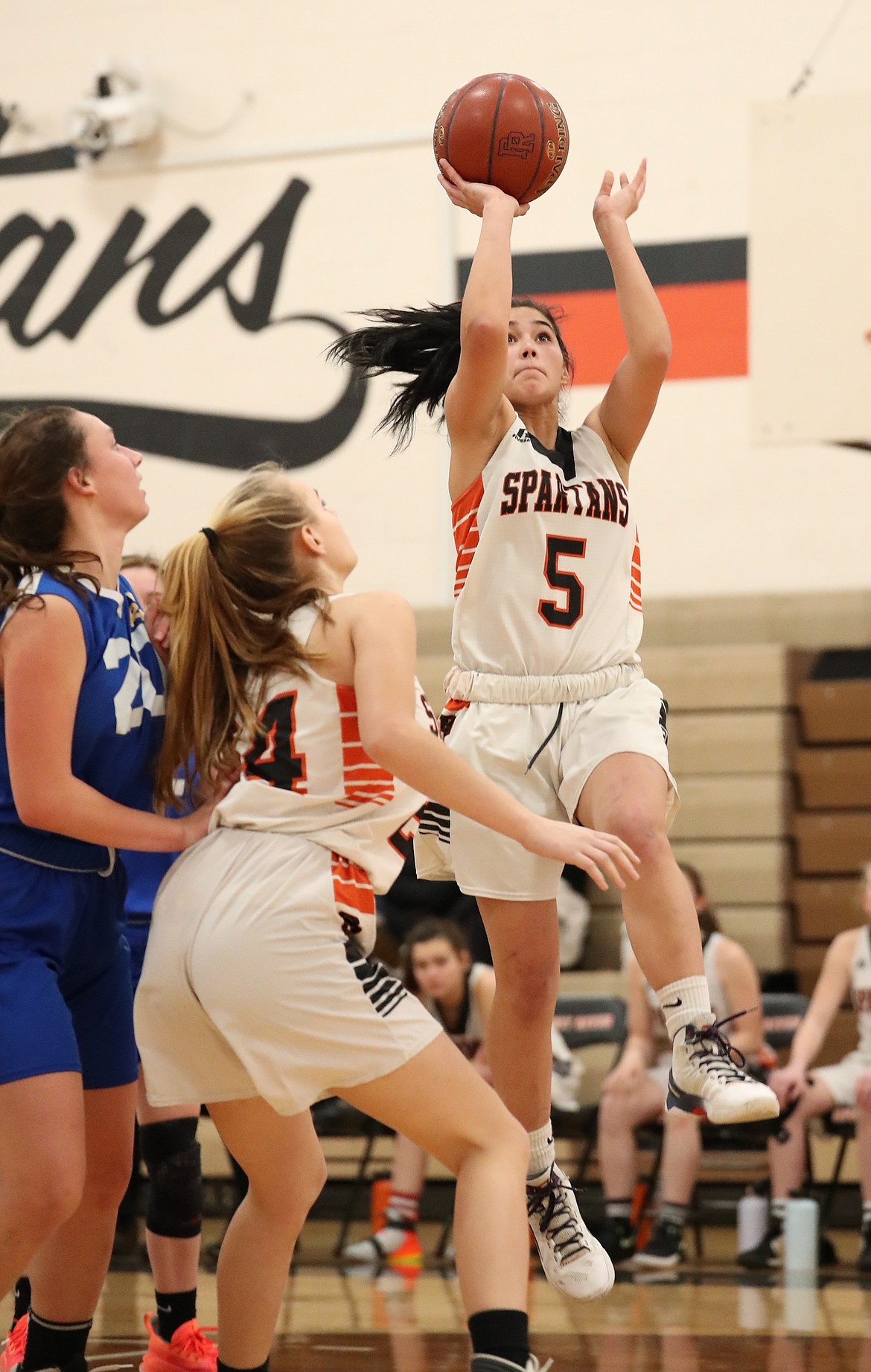Lilly Freitas pulls up for a jumper during the second half of Monday's game.