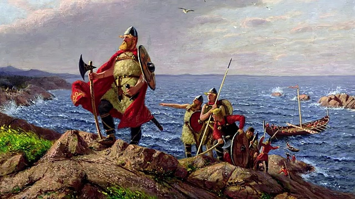 Painting by Hans Dahl (1849-1937) of Leif Erikson, son of Erik the Red, who is believed to have landed either in Newfoundland or Labrador, which he called Vinland and is considered the first European to land in North America, nearly 500 years before Columbus.