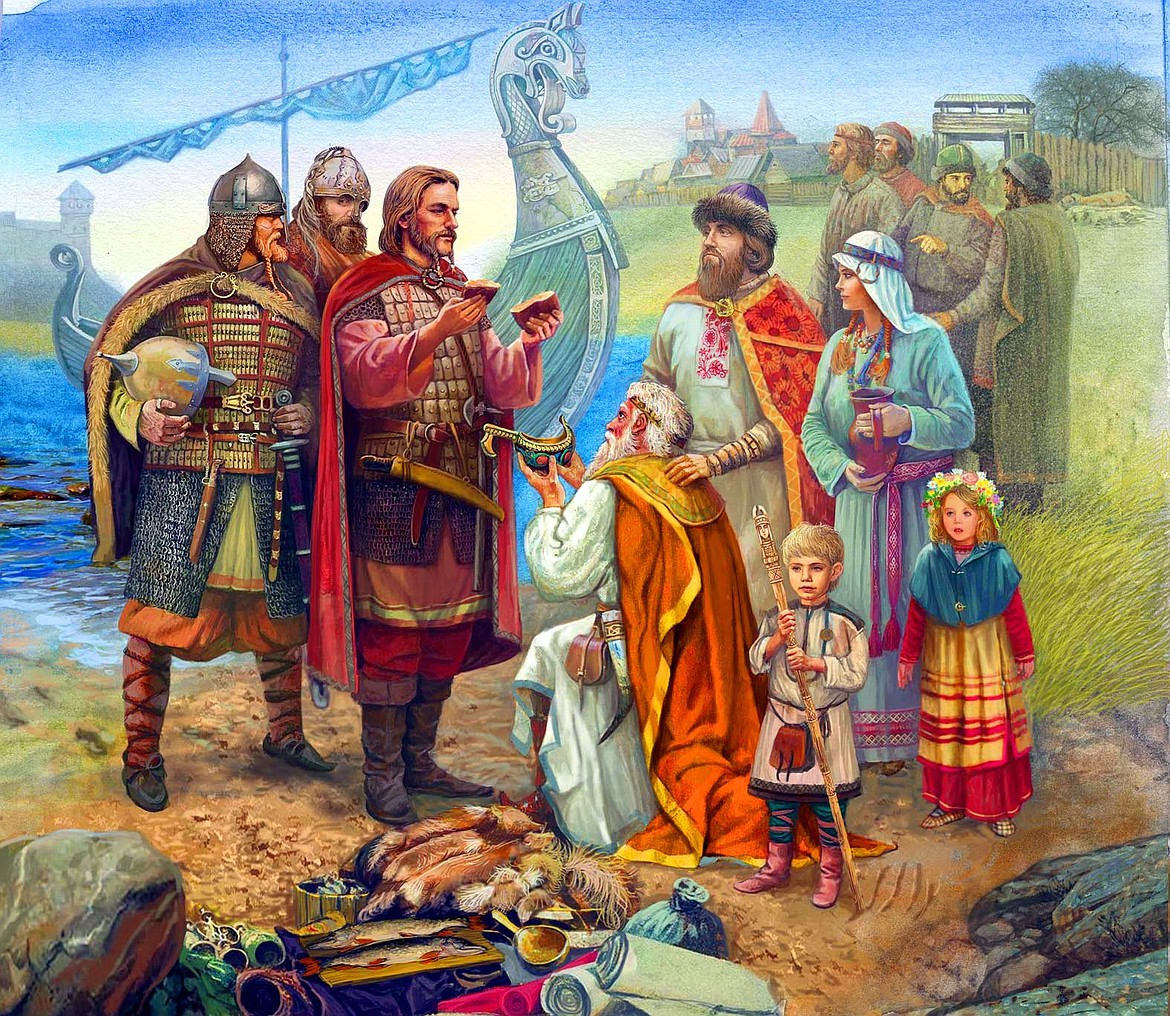 The Vikings trading with Russian villagers.