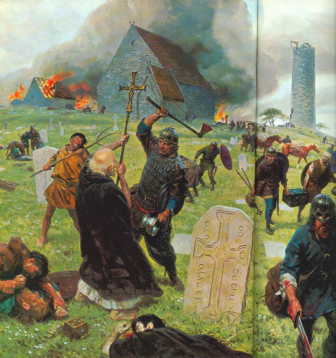 The Viking Age is said to have begun in AD 793, with the Viking plundering of the Holy Island of Lindisfarne off the coast of Northumberland, England, just south of the Scottish border, with this painting depicting an attack of the monastery at Clonmacnoise, Ireland, raided often by Vikings, Normans and Irish.