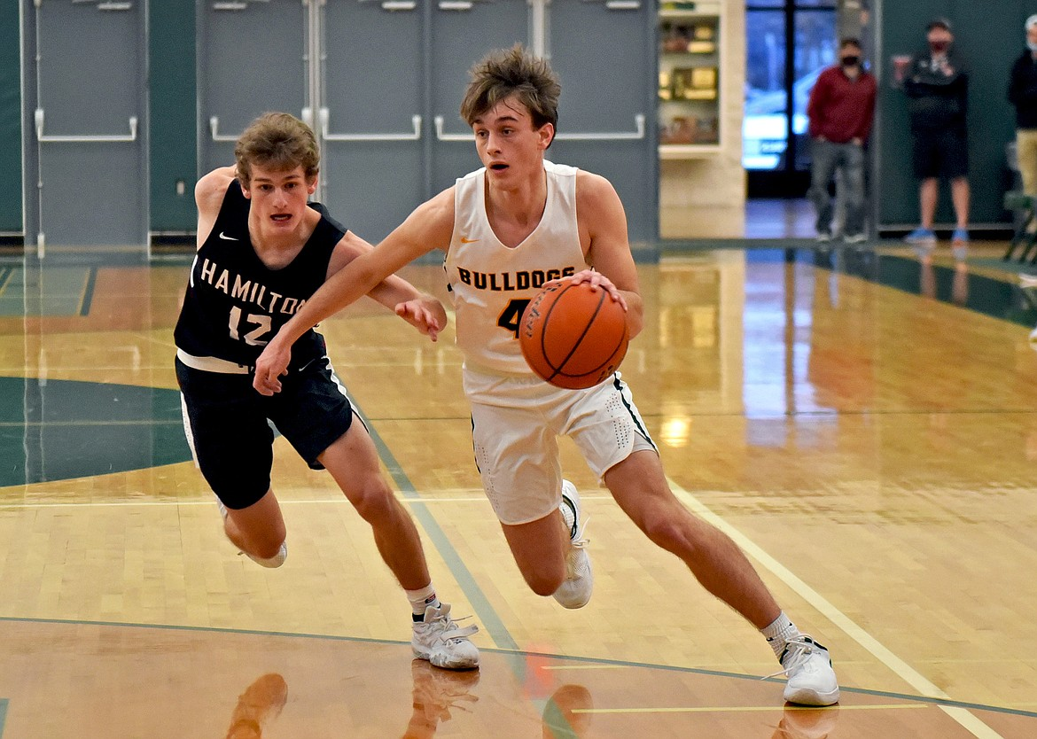 Whitefish junior Bodie Smith gets past a Hamilton defender in a game at Whitefish High School on Saturday. (Whitney England/Whitefish Pilot)