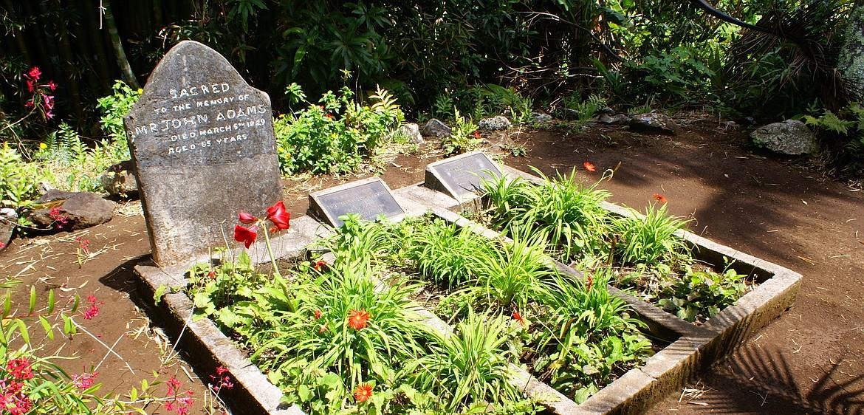Grave of John Adams whose descendants are the last family members of the original Bounty mutineers still living on Pitcairn Island.