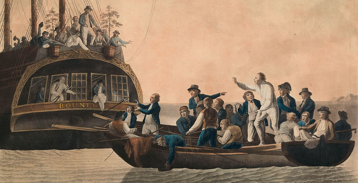 Captain William Bligh and 18 loyal crewmembers were set adrift in the South Pacific by mutinying crew (1789).