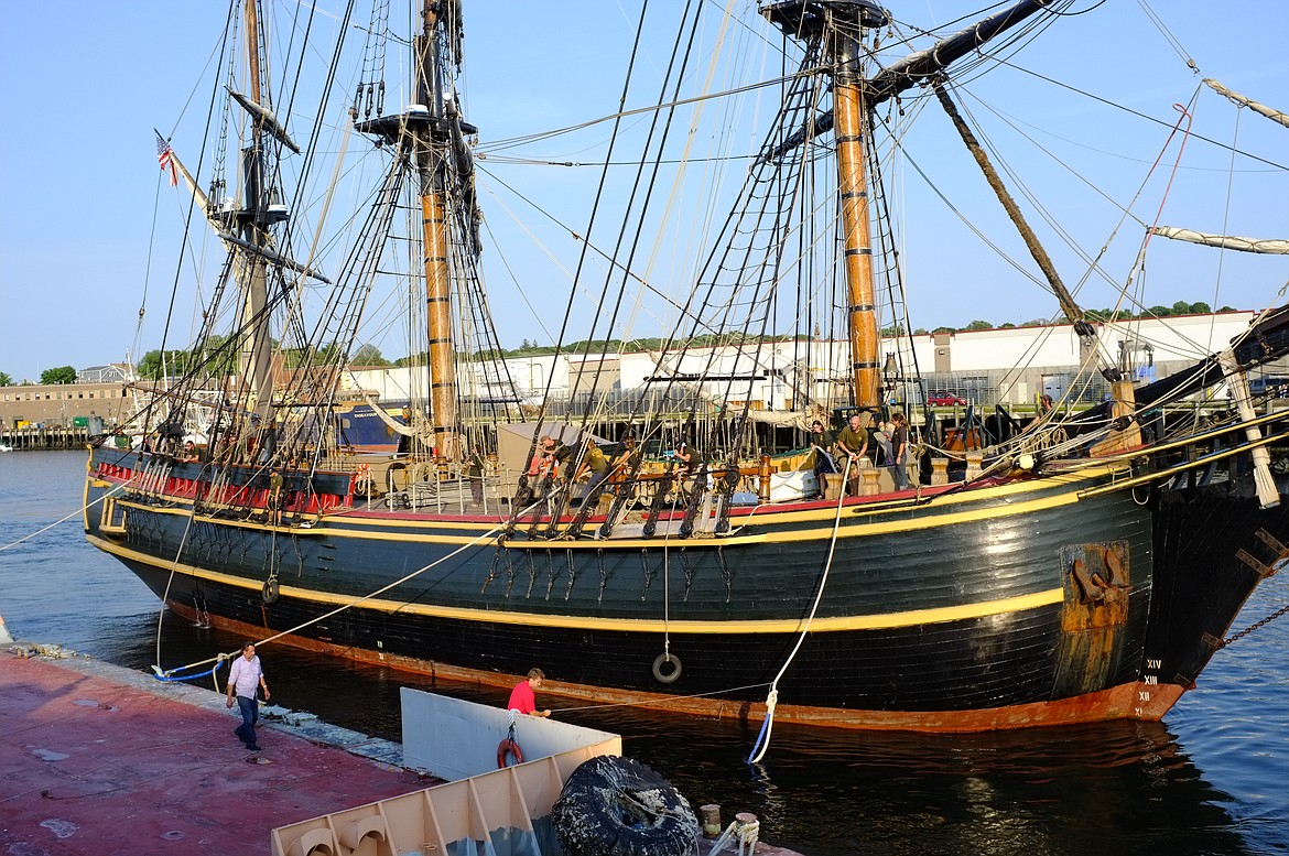 """Modern day replica of HMS Bounty moored permanently in St. Petersburg, Fla., until it sank in a hurricane, was built in Nova Scotia and sailed to Tahiti for filming """"Mutiny on the Bounty"""" and was scheduled to be burned in a scene, but Maron Brando (who played Fletcher Christian) objected and the ship was spared."""
