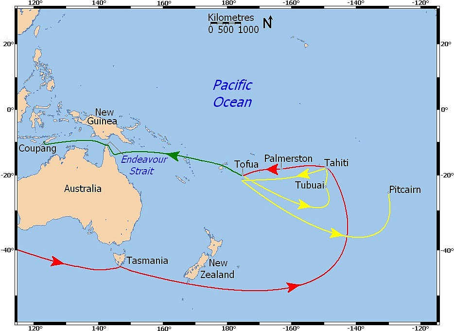 Captain Bligh's sea path from England to Tahiti, then his route to Timor shown in a green dotted line from Tofua westward, after being set adrift in an open boat with 18 other crewmembers following the mutiny on the Bounty.
