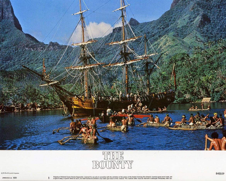 """Scene of natives welcoming HMS Bounty to Tahiti from """"Mutiny on the Bounty"""" movie (1962), starring Marlon Brando and Trevor Howard."""