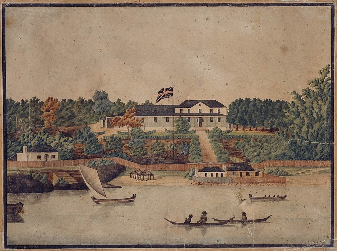 Painting of First Government House, Sydney, Australia, by John Eyre, where William Bligh served as governor from 1806 to 1808, seven years after the mutiny on the Bounty (c.1807).