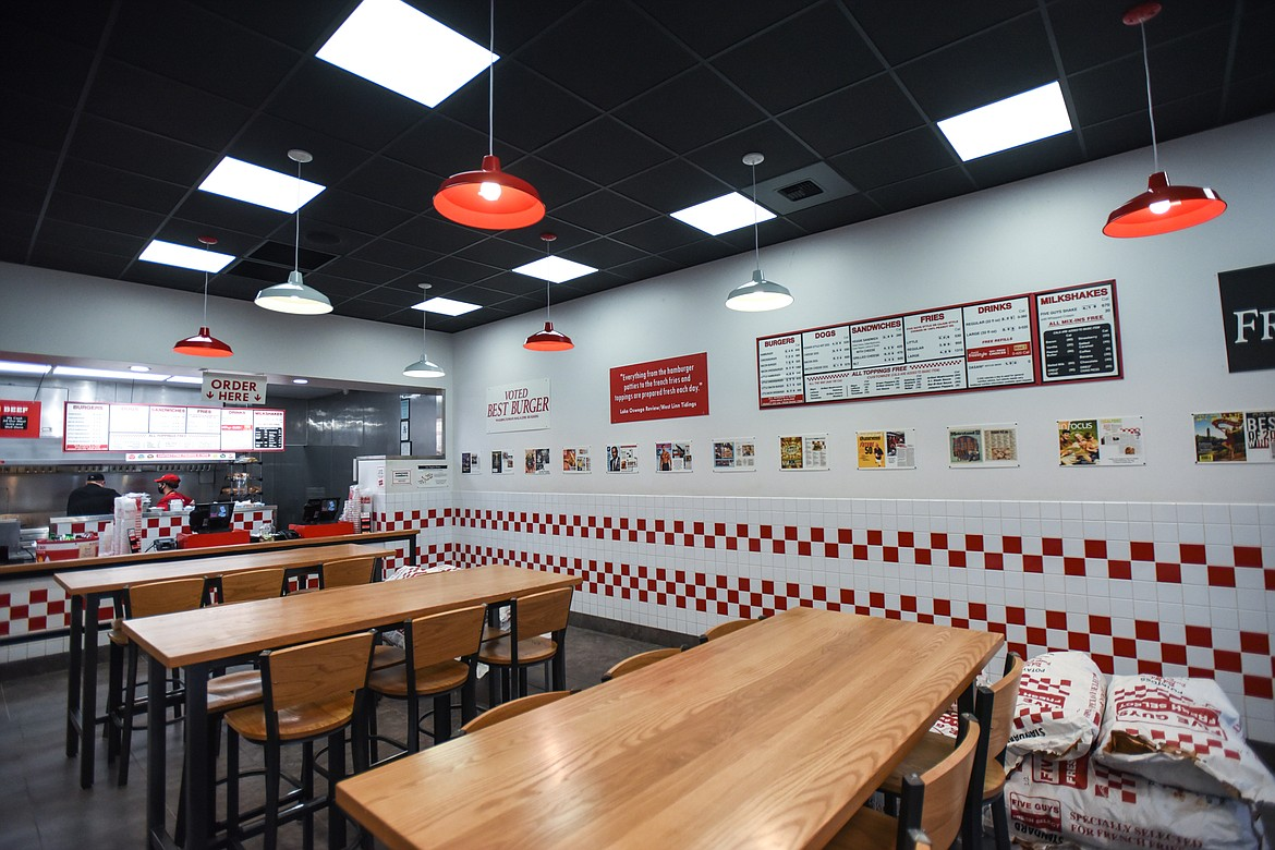 Brighter LED lights and new tables at the Five Guys in Kalispell on Thursday, Feb. 4. (Casey Kreider/Daily Inter Lake)