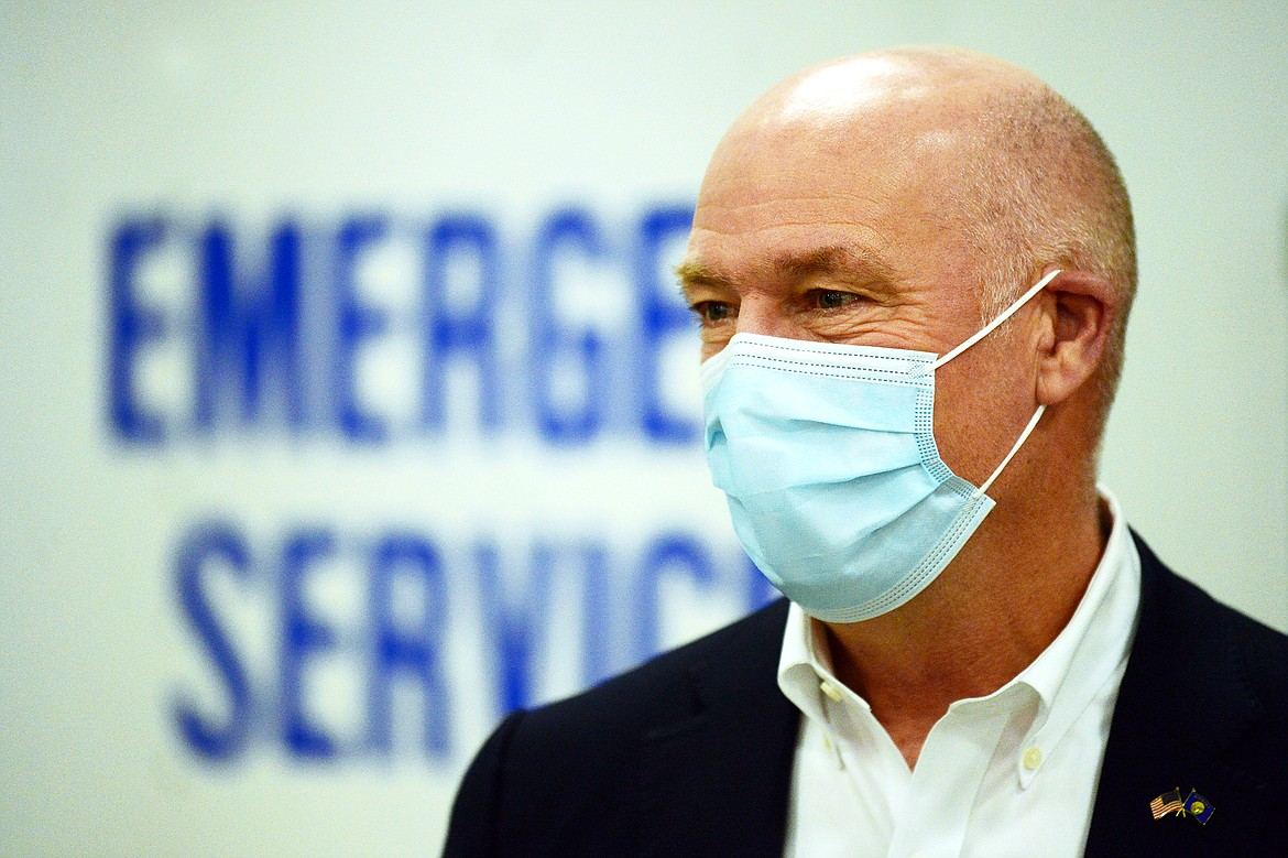 Gov. Greg Gianforte answers questions after a tour of a COVID-19 vaccine clinic at the Flathead County Fairgrounds in Kalispell on Friday, Feb. 12. (Casey Kreider/Daily Inter Lake)
