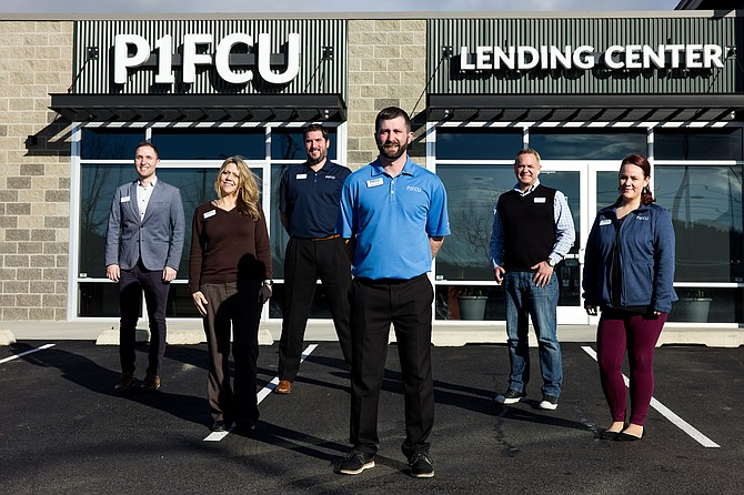 A portion of the P1FCU Post Falls lending team, from left, Jim Koester, business loan officer; Jackie Copeland, mortgage loan officer; Kyle Janke, business sales representative; Nicholas Rosen, business loan officer; Shane Coffey, business sales representative; and Samantha Stockmoe, member concierge.