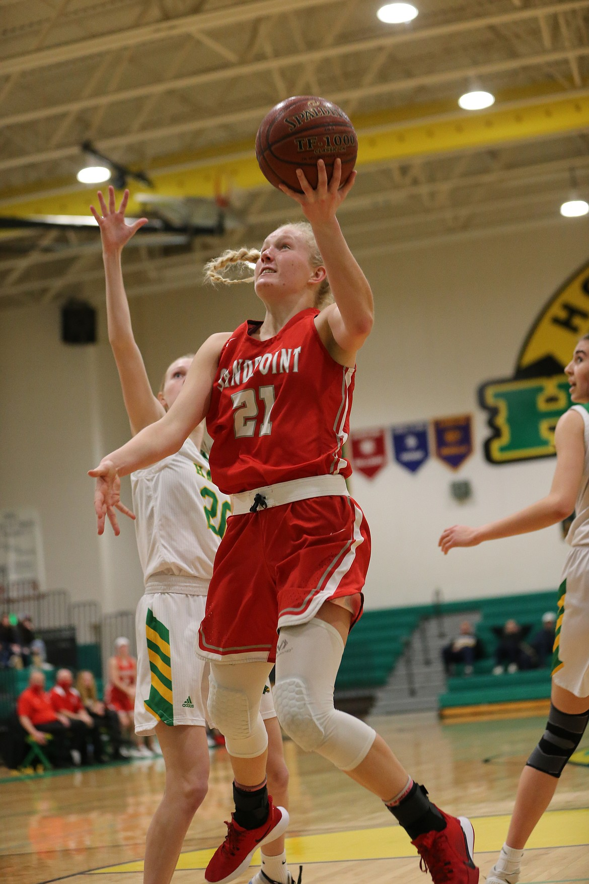"Senior Hattie Larson attacks the basket during the 4A Region 1 championship game at Lakeland on Saturday. Regardless of the finish at state, Larson wants the Bulldogs final game at the tournament this week to end with a victory. ""I just want to feel like we gave it our all until the very end,"" she said."
