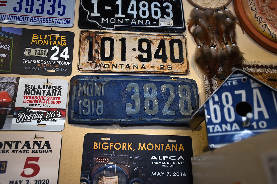 Ken Fitzgerald's license plate collection includes several early Montana plates, including this one from 1918. (Jeremy Weber/Daily Inter Lake)