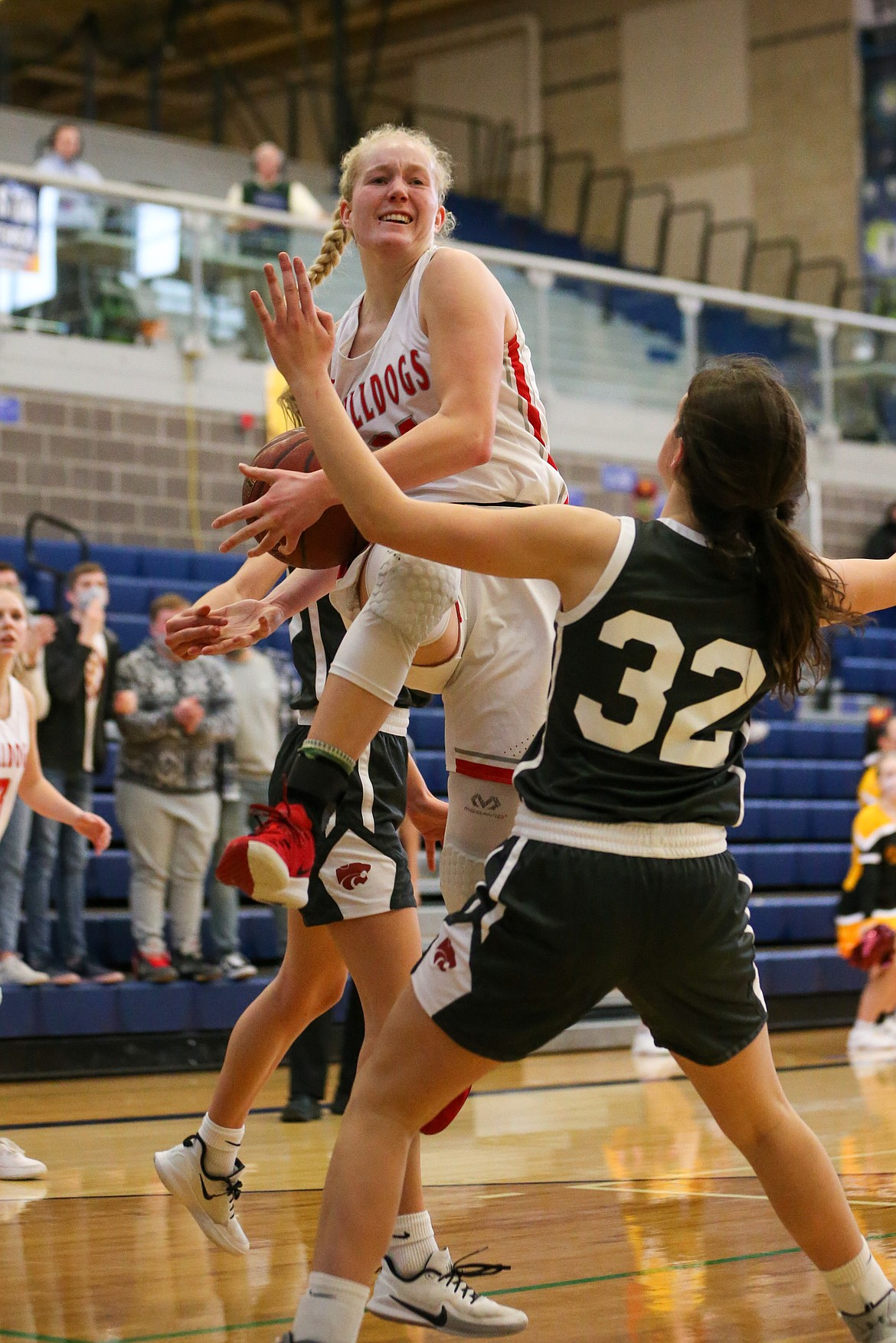 Hattie Larson goes airborne while attacking the basket on Thursday.