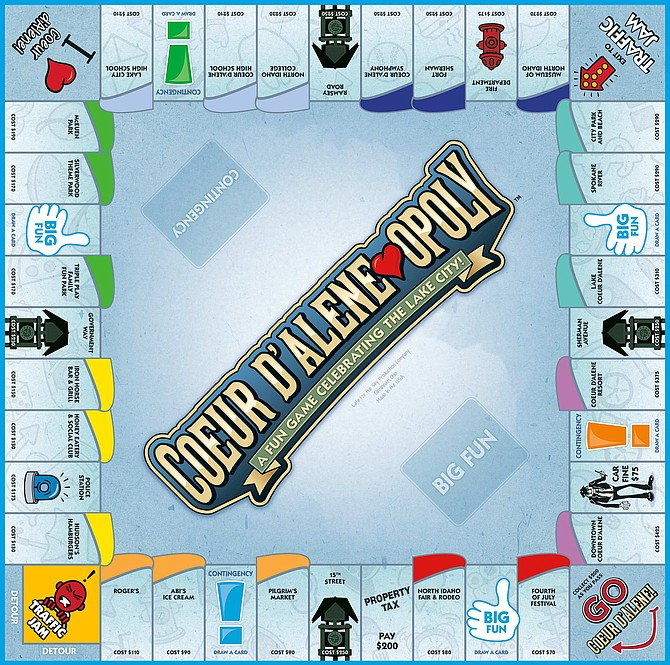 Coeur d'Alene-opoly is now on the shelves at local Walmarts. Created by Cincinnati-based game company Late for the Sky, Coeur d'Alene-opoly highlights local places and events including Pilgrim's Market, the North Idaho Fair and Rodeo and Lake Coeur d'Alene.