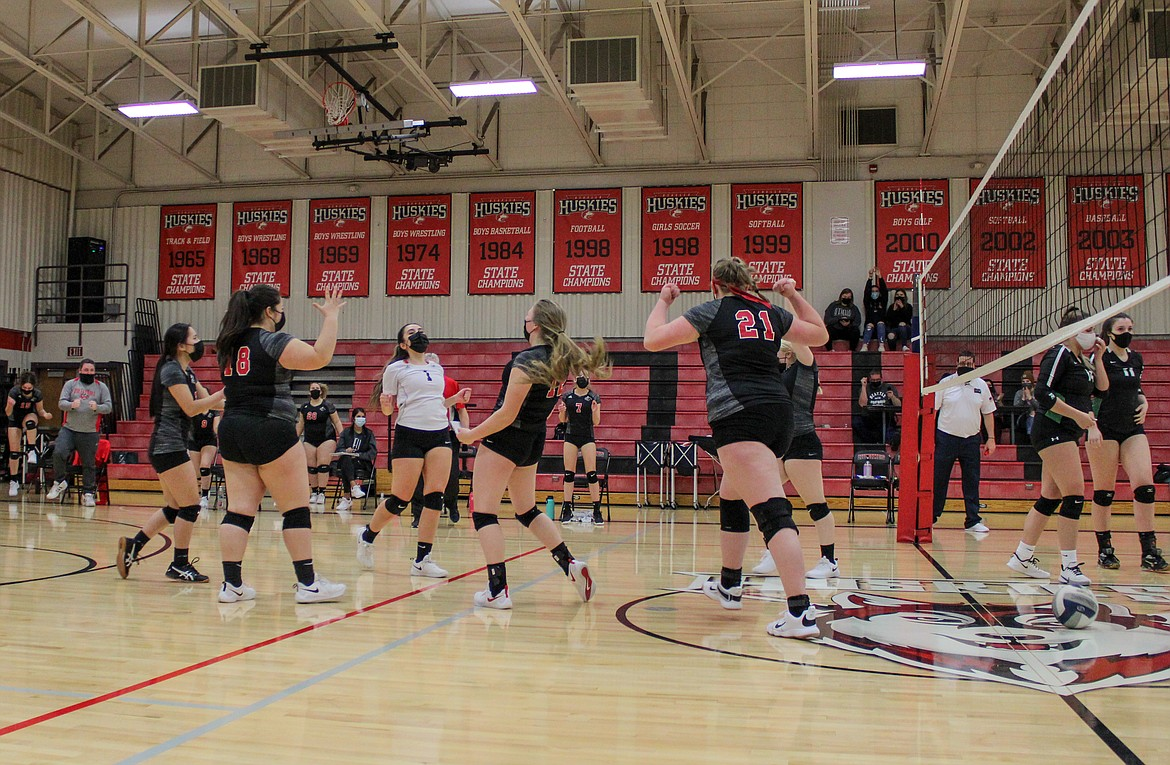 The Othello Huskies elate after taking the third set victory and securing the sweep against East Valley (Spokane) in their home opener on Thursday night at Othello High School.