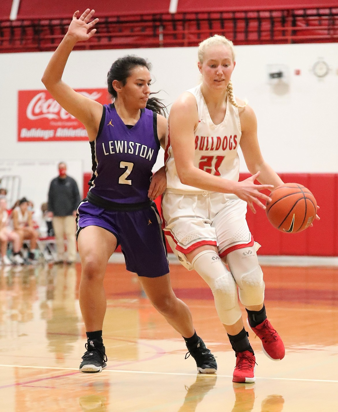 Hattie Larson drives toward the hoop against Lewiston on Jan. 23 at Les Rogers Court. Larson earned a spot on the all-league team for the third straight year.