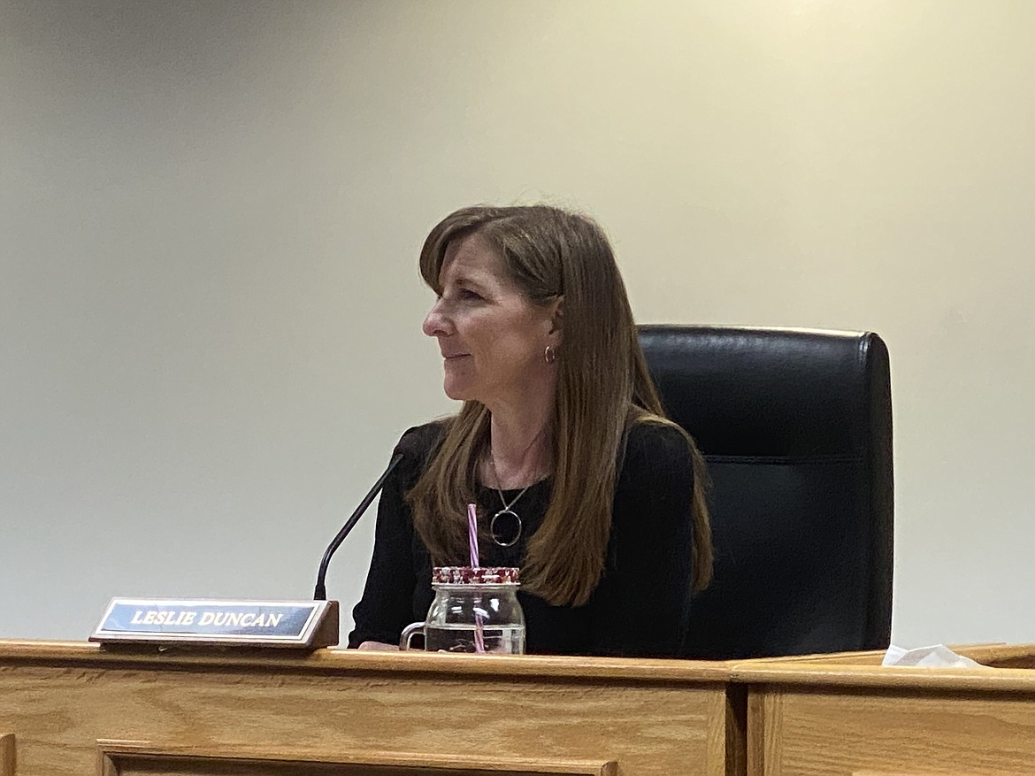Commissioner Leslie Duncan stresses the importance of the county's future attorney center during a meeting Monday with planners and elected officials. (MADISON HARDY/Press)