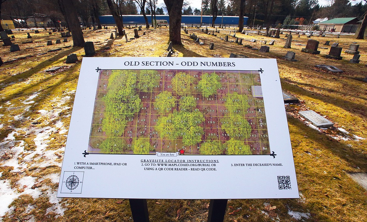 New signs with QR codes guide visitors to the burial sites of their loved ones at St. Thomas Cemetery.