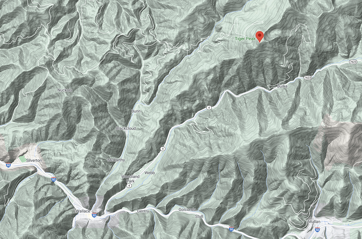 The avalanche reportedly occurred on the west side of Tiger Peak, located just north of Burke.