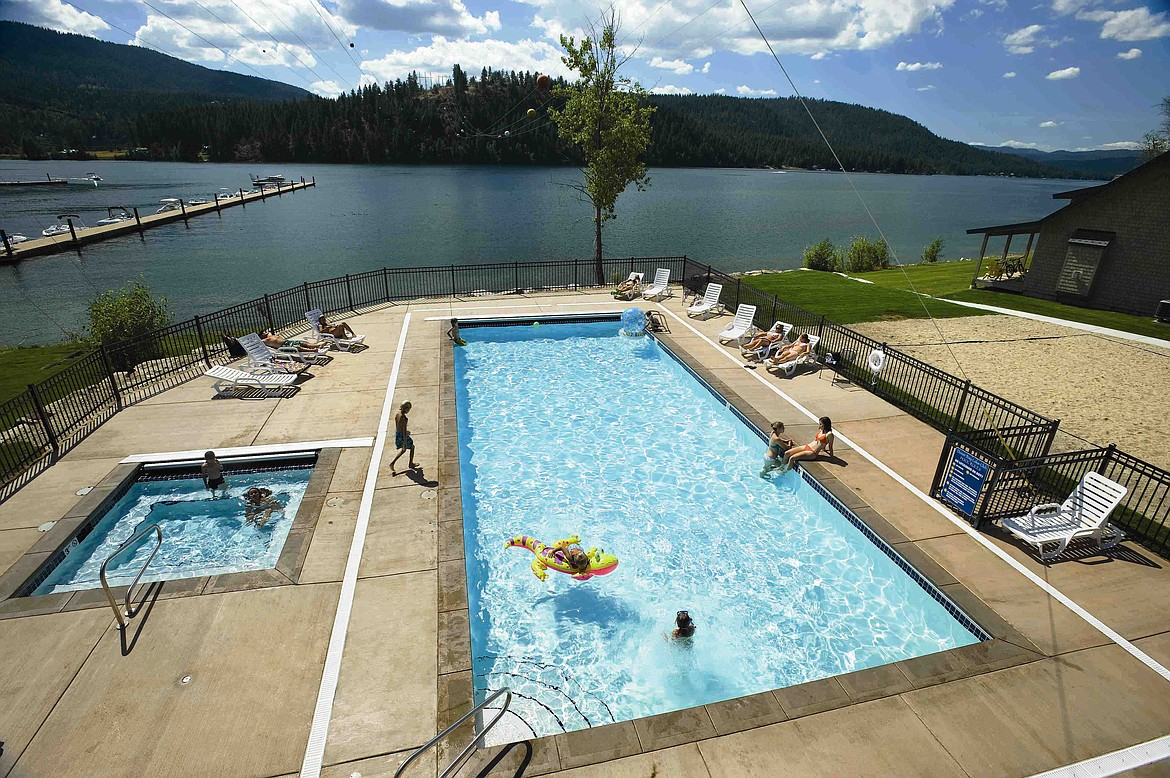 Amenities at the Dover Bay Waterfront Community and Resort include a year-round, heated, outdoor swimming pool and spa.