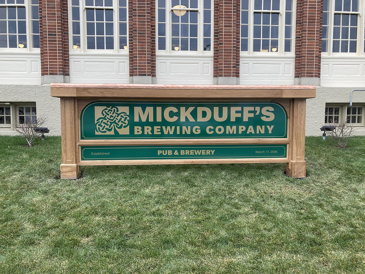 MickDuff's Brewing Company will be celebrating its 15th anniversary in its new home at 419 N. Second Ave. Pictured is a closeup of the brewpub's sign.