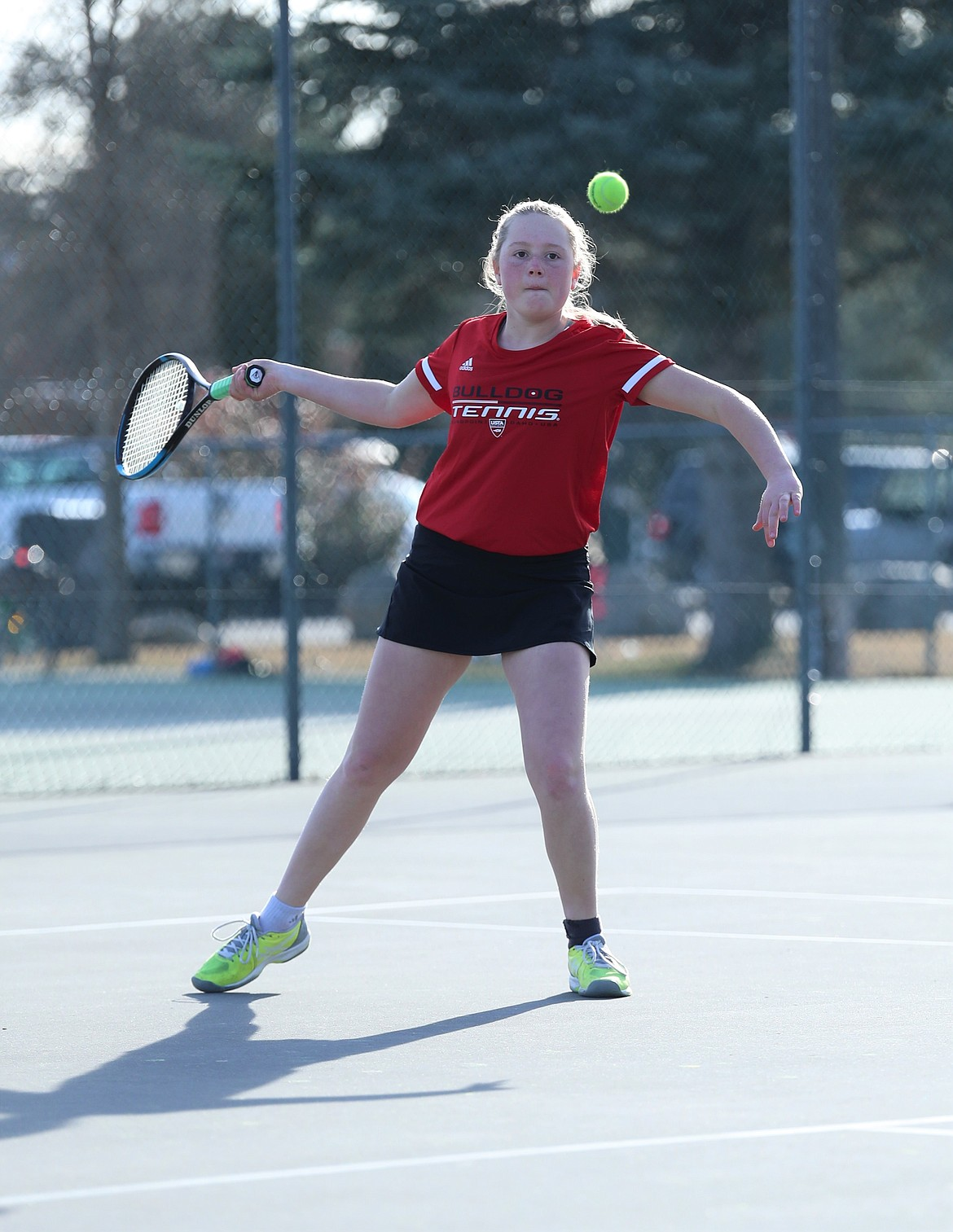 Berkeley Cox lines up her shot to hit a forehand on Wednesday.