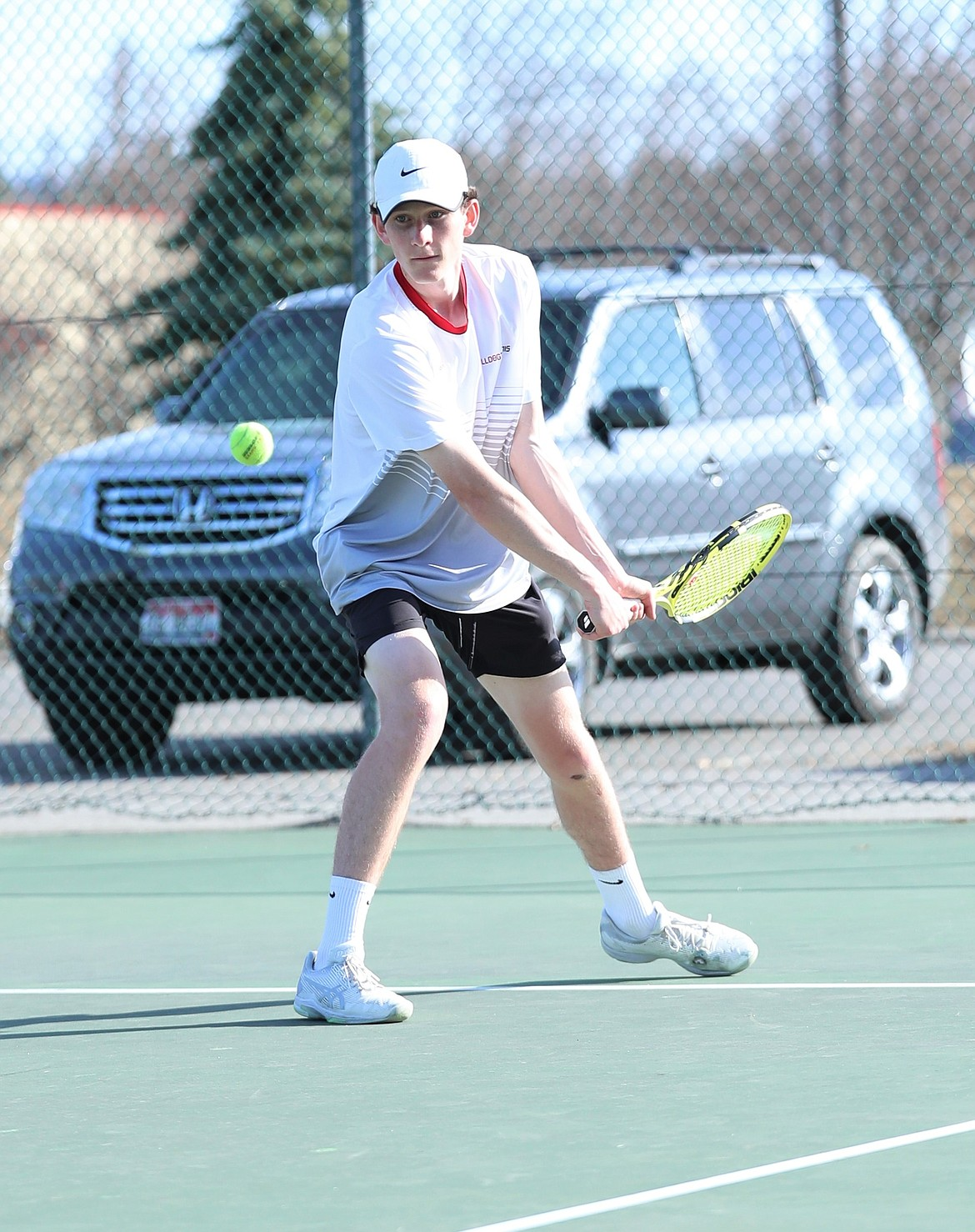Josh Embree prepares to hit a backhand on Wednesday.