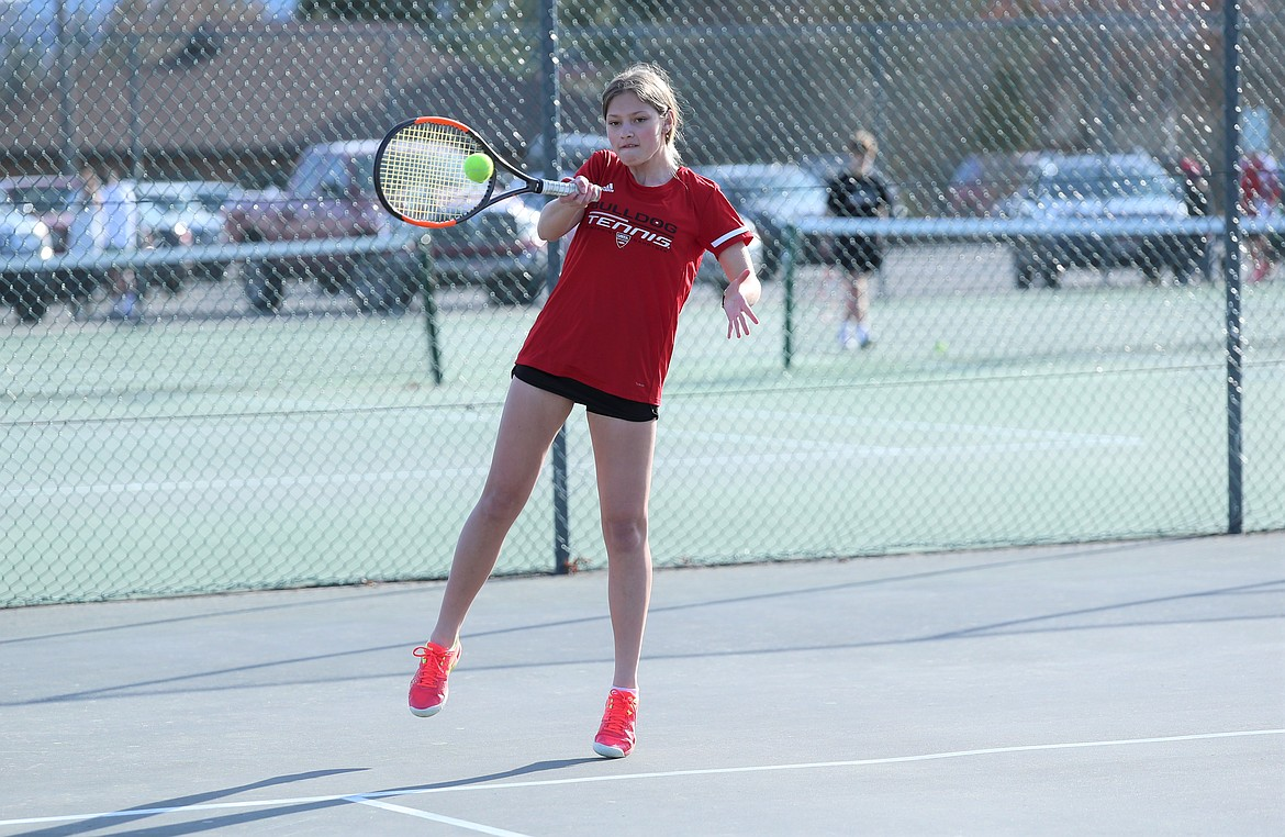 Maile Evans hits a forehand on Wednesday.