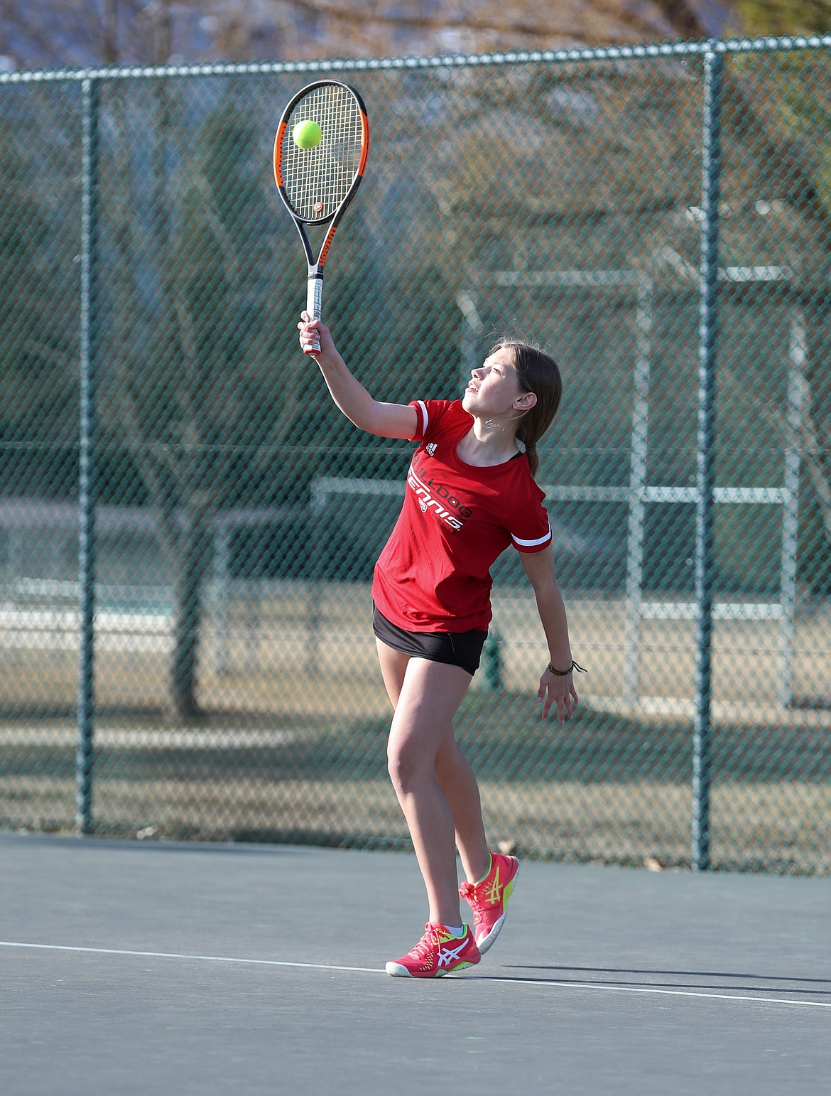 Maile Evans serves on Wednesday.