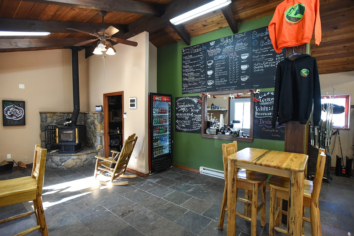 The cafe and coffee bar area inside Dog Creek Lodge & Nordic Center in Olney on Wednesday. (Casey Kreider/Daily Inter Lake)