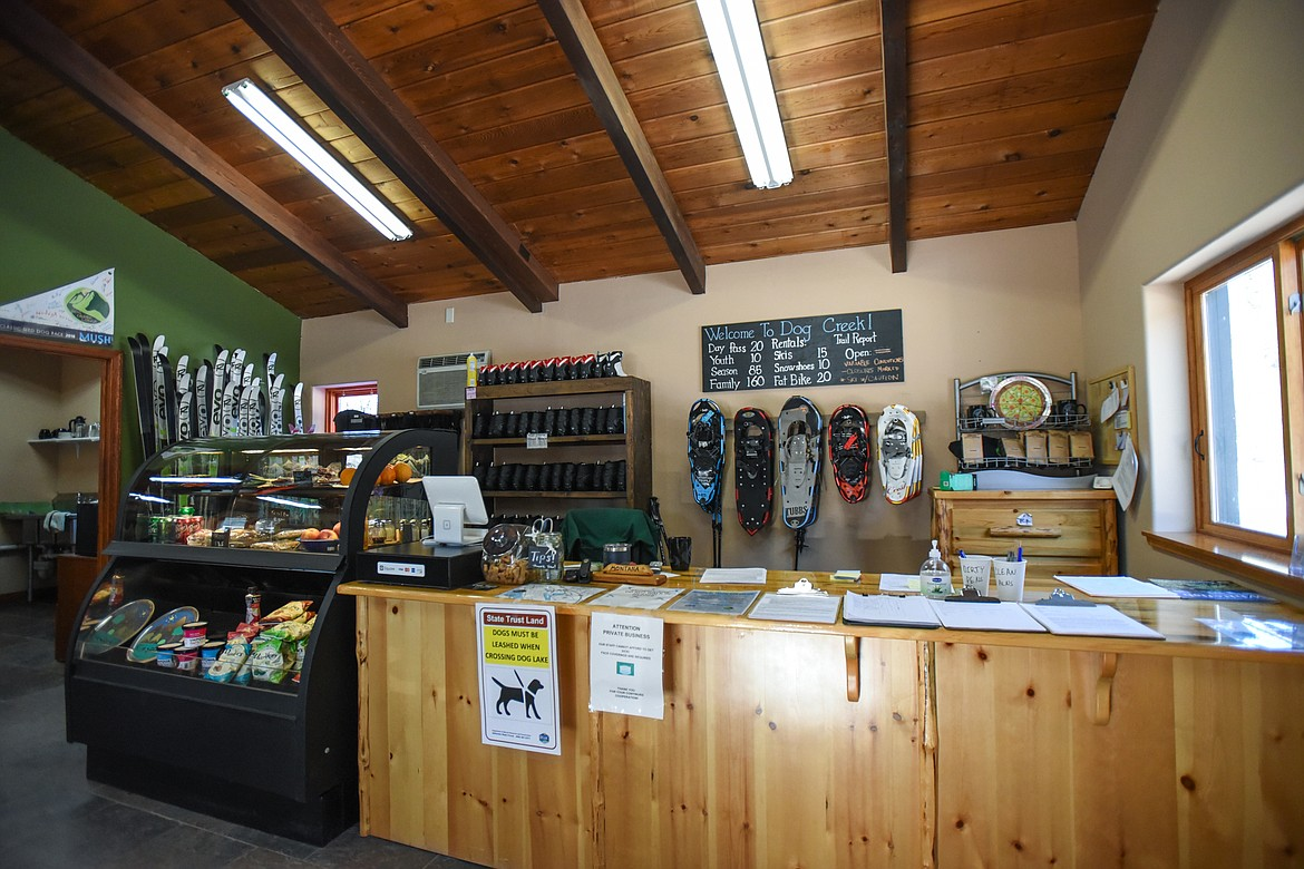The front desk area where visitors can rent a variety of equipment like skis, snowshoes and fat tire bikes at Dog Creek Lodge & Nordic Center in Olney on Wednesday. (Casey Kreider/Daily Inter Lake)