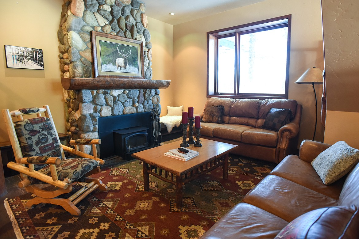 A sitting area inside the main lodge at Dog Creek Lodge & Nordic Center in Olney on Wednesday. (Casey Kreider/Daily Inter Lake)