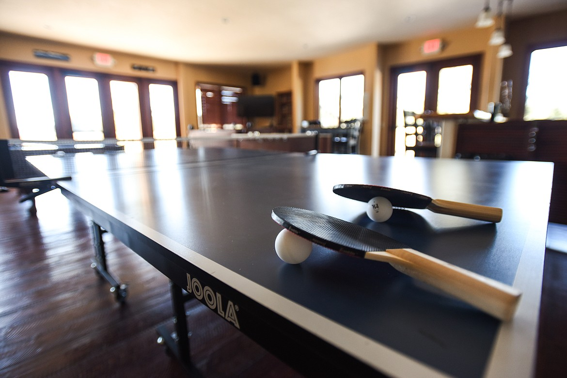 The game room inside the events center features a ping pong table, a pool table, foosball and other games and entertainment options at Dog Creek Lodge & Nordic Center in Olney on Wednesday. (Casey Kreider/Daily Inter Lake)