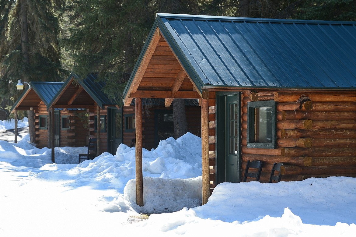 A few of the guest cabins available to rent at Dog Creek Lodge & Nordic Center in Olney on Wednesday. (Casey Kreider/Daily Inter Lake)