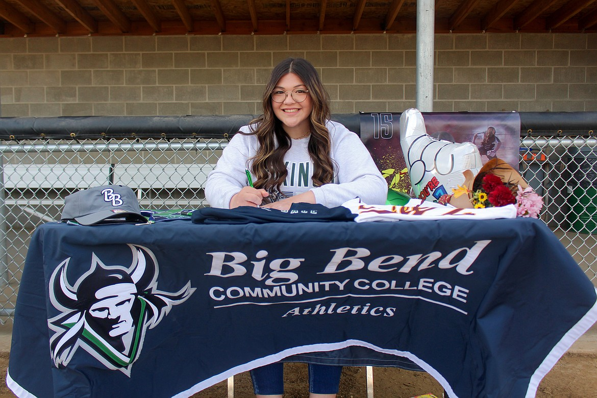 Laurissa Martinez signed to play for Big Bend Community College next fall on Wednesday afternoon at Moses Lake High School.