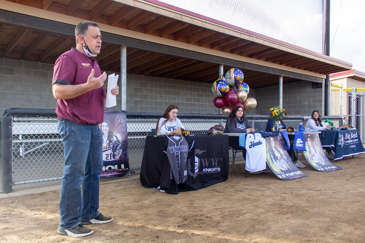 Moses Lake head coach Michael Hofheins talked a little bit about his four players signing to play at the collegiate level next season on Wednesday afternoon at the softball field at MLHS.