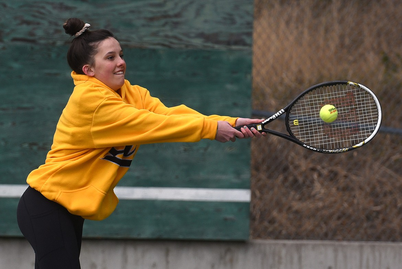 Callie Martinez practices her backhand during practice Monday. Jeremy Weber/Bigfork Eagle