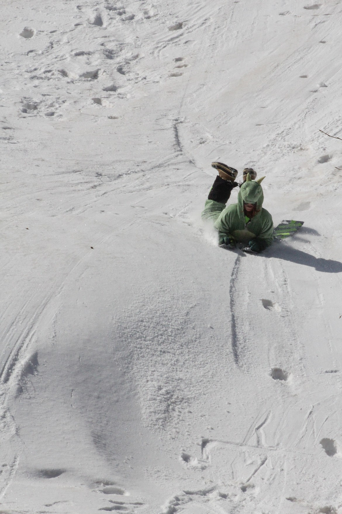 Logan slides down the hill at Schweitzer Tuesday morning.